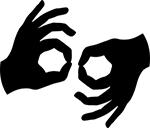ASL interpretation hands logo