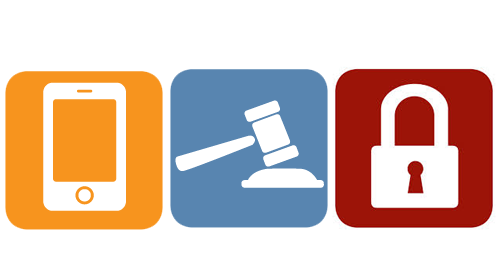 Three icons that are yellow, blue, and red. The first is a stylize smart phone, the second is a gavel, and the third is a padlock