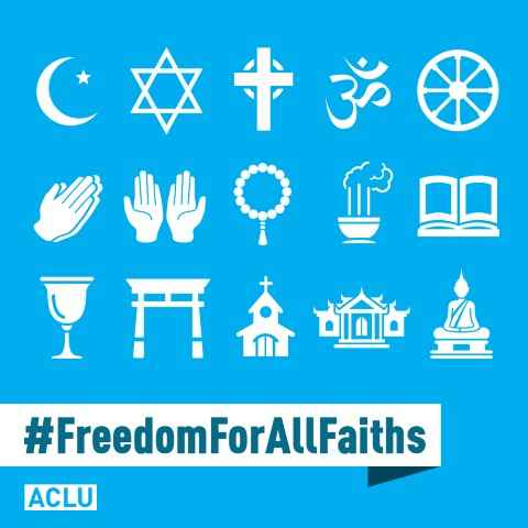 Collection of religious symbols rendered in white against a light blue background with #freedom for all faiths at the bottom