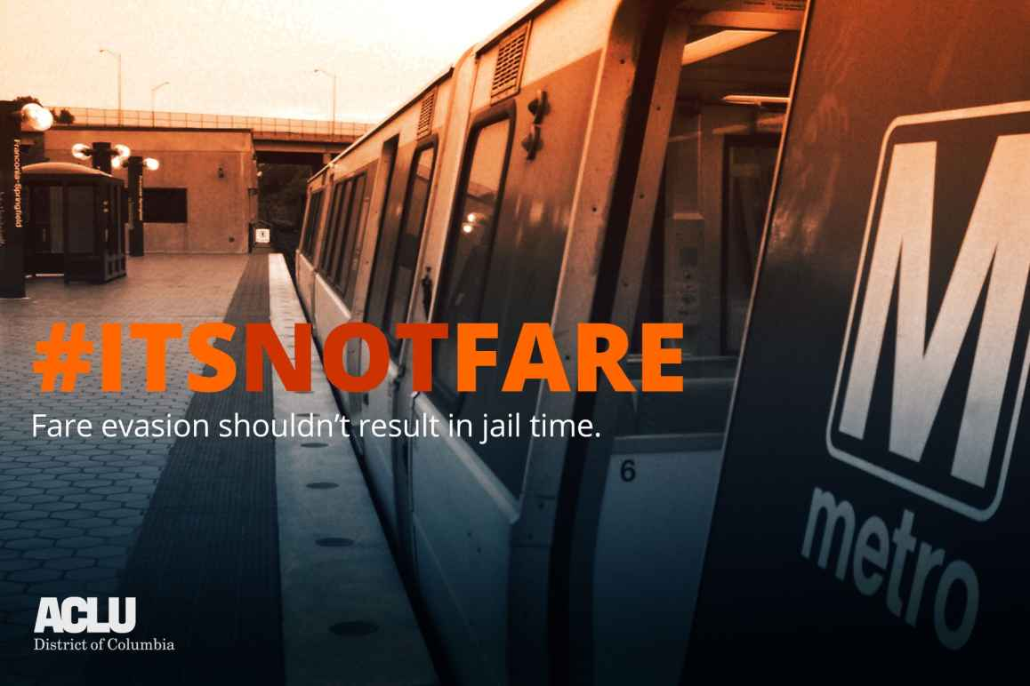 sepia-tone photo of Metro train with #ItsNotFare slogan across front