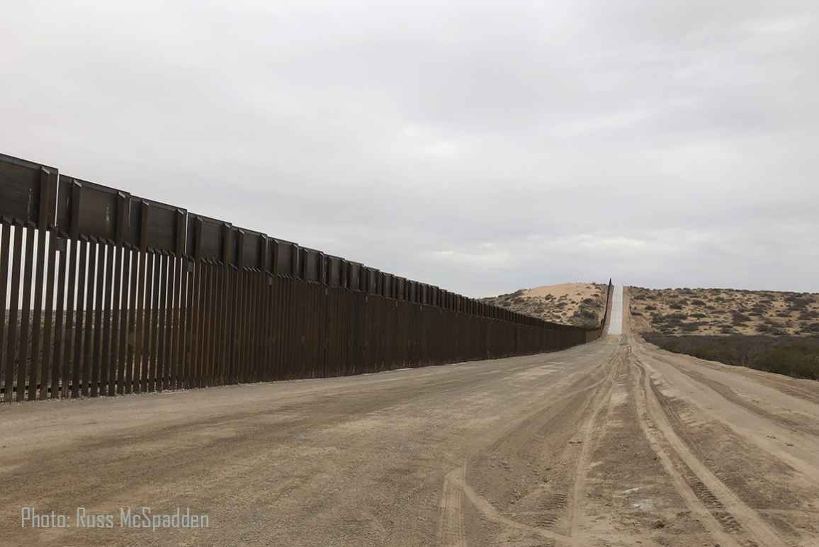 photo showing New Mexico border fence with Mexico