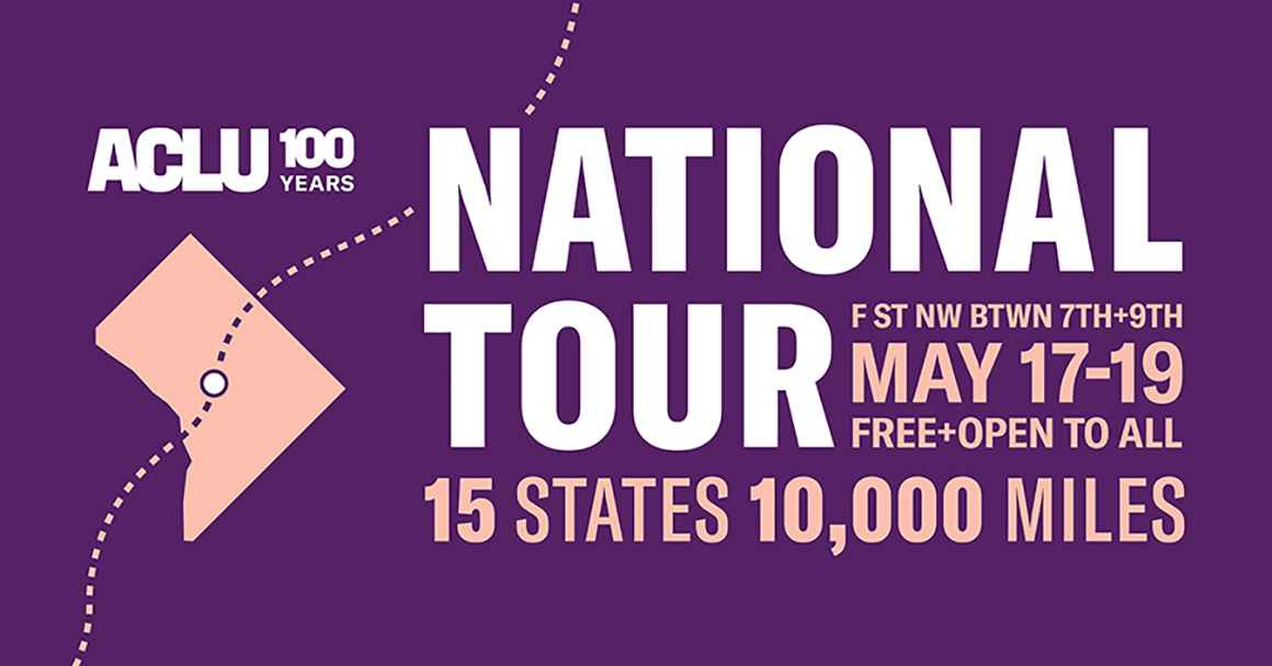 ACLU100 national tour homepage graphic