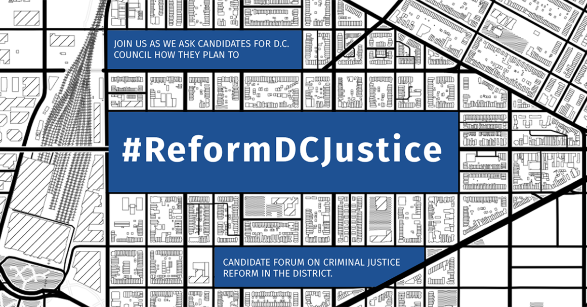 image of map with reform dc justice event title in center