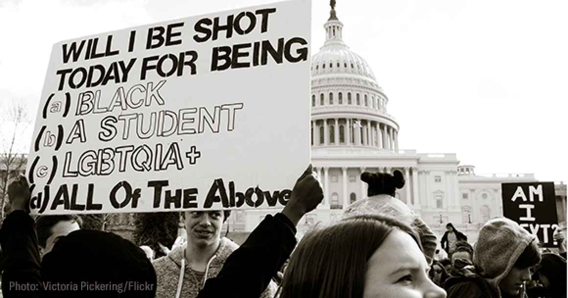 photo of students on 3/14 school walkout in front of U.S. capitol