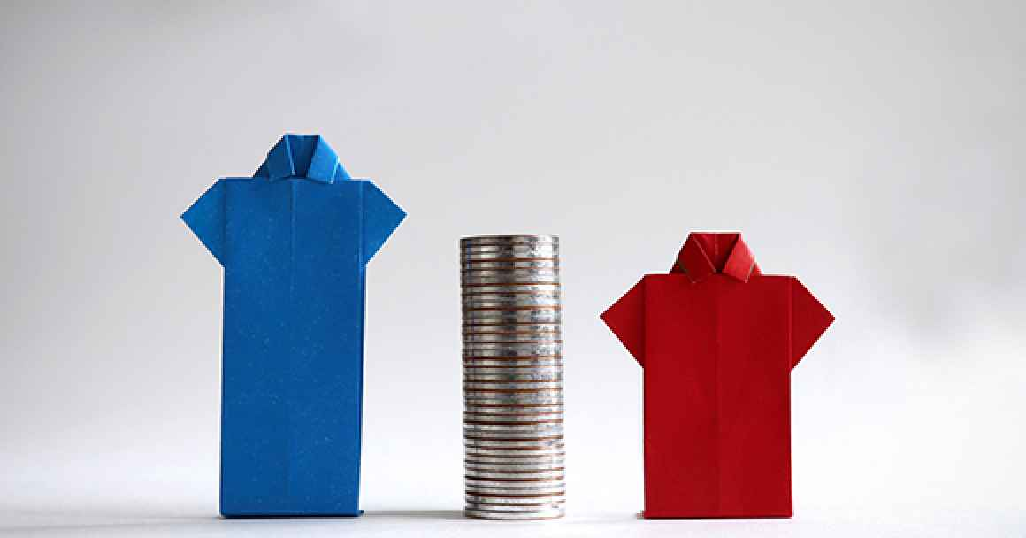 image of and blue shirt and a red shirt next to a stack of coins, representing the gender wage gap