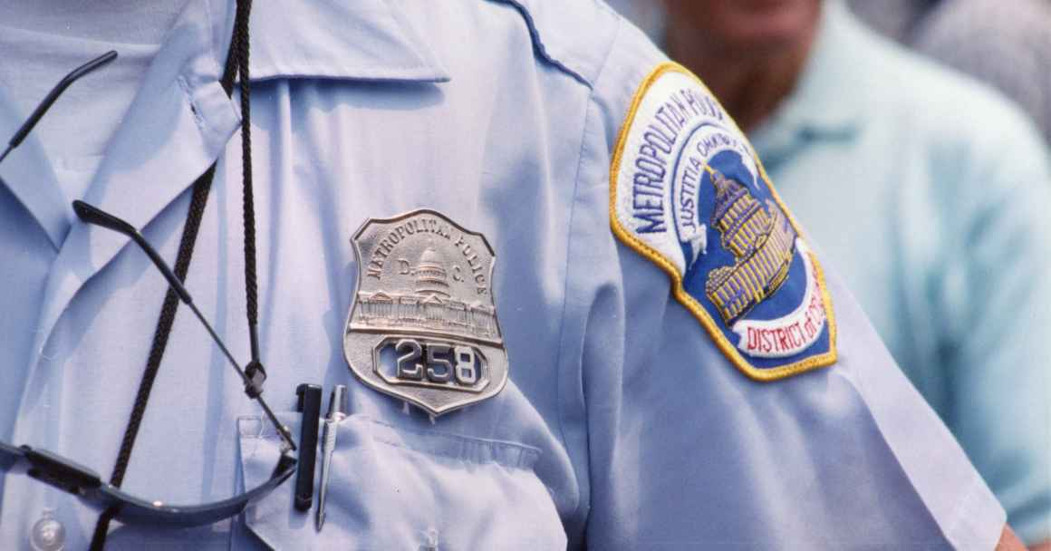 photo showing arm patch of MPD officer
