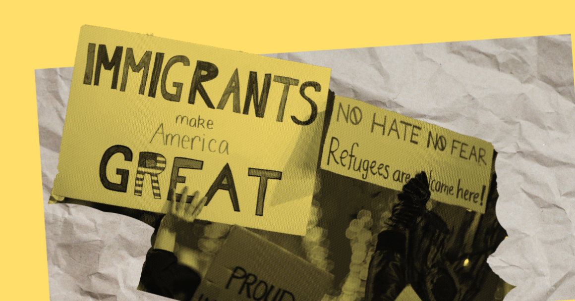 """image of signs reading """"Immigrants are welcome here"""""""